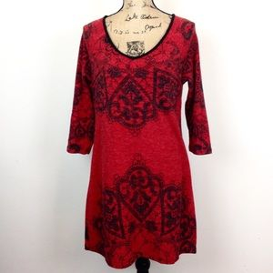 Aryeh Red Sweater Dress Tunic M - N670